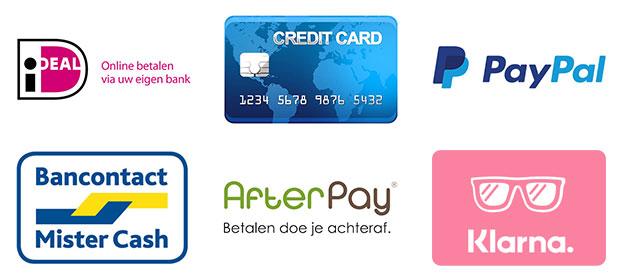 Ideal, creditcard, paypal, bancontact, afterpay, klarna.
